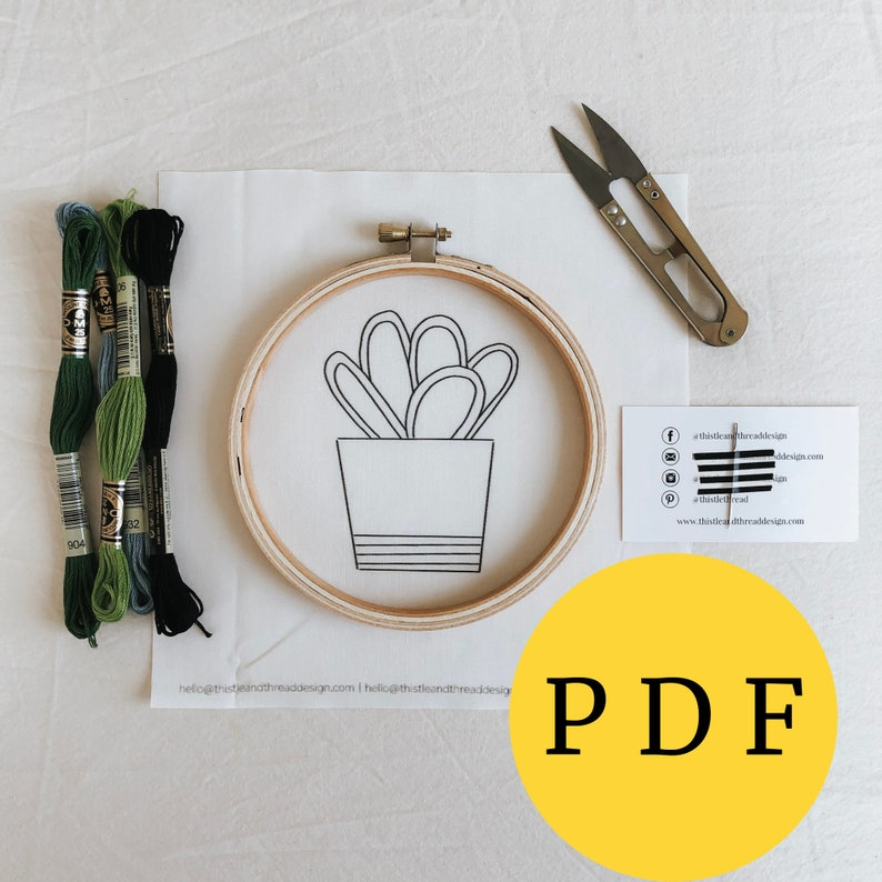 Beginner Cactus PDF for Hand Embroidery Gift for Crafty image 0