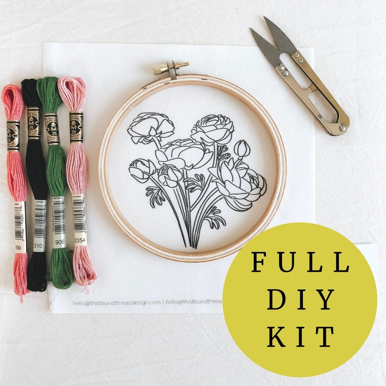 Floral Embroidery Kit for Plant Lover Flowers Kit Nature image 0