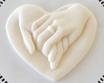 VEGAN GLUTEN-FREE Chocolate Topper-Dk Chocolate /White Vanilla  Holding Hands Cake Topper-Priority Mail