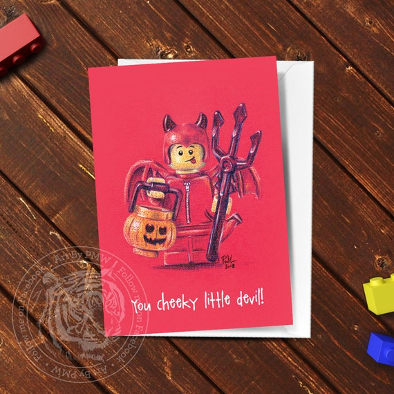 Lego Greeting Card Lego Gifts Lego Birthday Card Devil Etsy