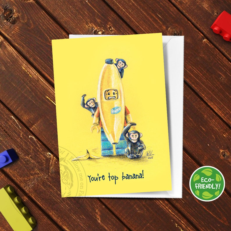 image about Lego Birthday Card Printable titled Lego Greeting Card Banana Minifigure, Lego drawing, Amusing Greeting Card, Lego Artwork, Birthday, Unique Bash, Hand Drawn Print