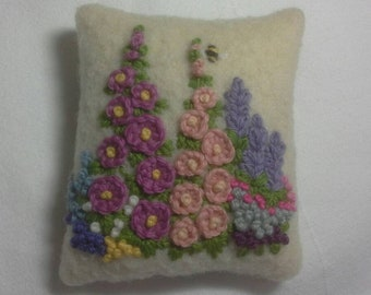 Pincushion hand embroidered with cottage garden flowers