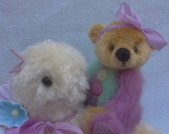 SOLD*Easter is coming ! A miniature teddy bear and chick