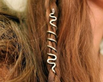 1 Viking snake hair bead for braids, beards and locks •  Spiral hair snake, Nordic jewelry, Viking hair ring