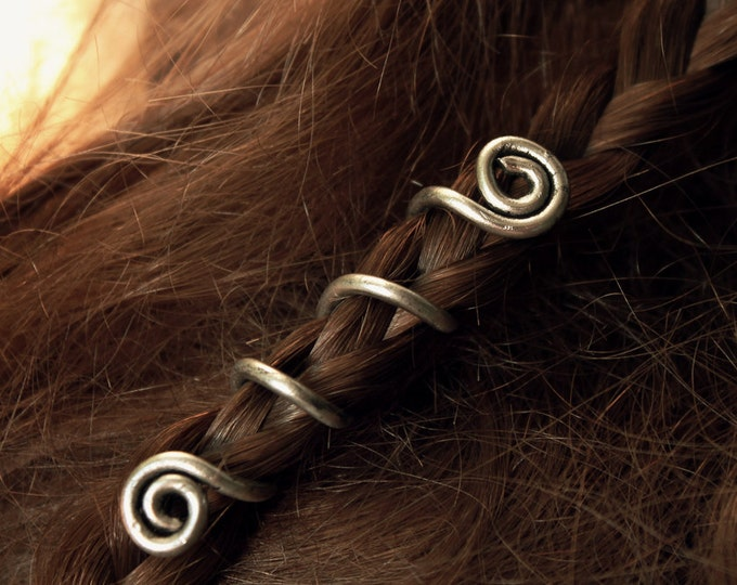 Viking spiral hair beads
