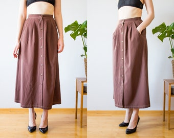 526c87d21404ac Long Brown Vintage Skirt From The 70s Size XS S