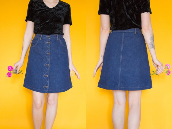 Vintage Blue Denim Mini Skirt Size S / Blue 1970s