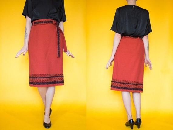 Vintage 1970s Orange Arola Wool Skirt Size XS5