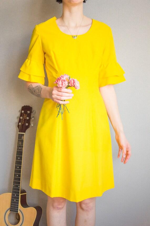 Vintage Bright Yellow Mini Dress Size S M / Yello… - image 7