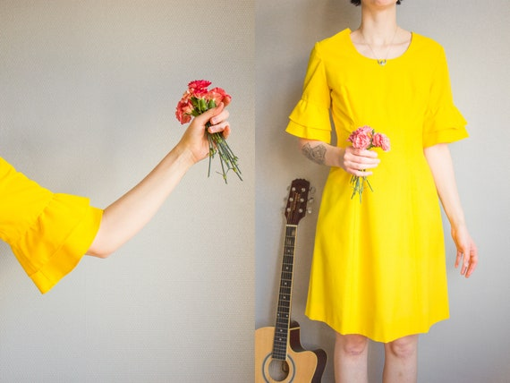 Vintage Bright Yellow Mini Dress Size S M / Yellow
