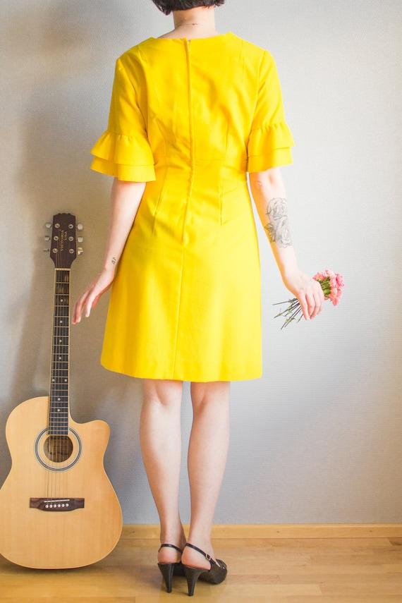 Vintage Bright Yellow Mini Dress Size S M / Yello… - image 5
