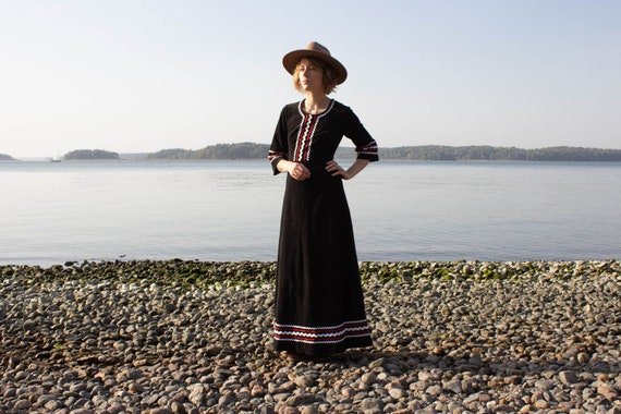 Vintage Maxi Dress, Black Corduroy Maxi Dress Size