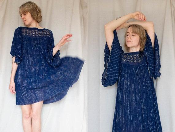 Angel Sleeve Mini Dress, Blue Festival Party Dress