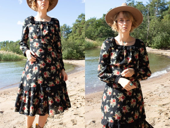 Flower Midi Dress, Vintage Boho Flower Dress Size