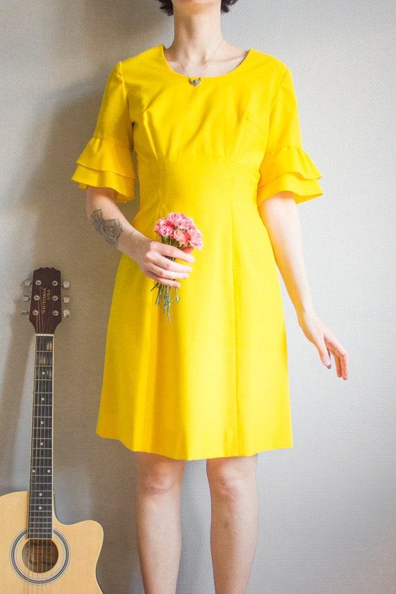 Vintage Bright Yellow Mini Dress Size S M / Yello… - image 2