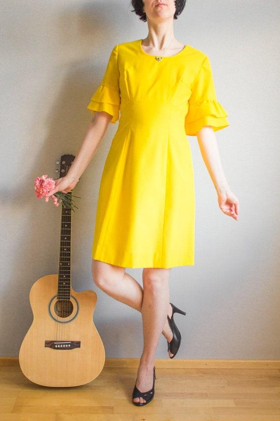 Vintage Bright Yellow Mini Dress Size S M / Yello… - image 4