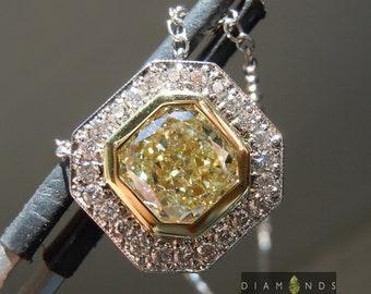 5802f9b7c 1.66ct Yellow VS1 Cushion Cut Diamond Pendant