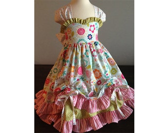 Summer Fairy dress PDF sewing pattern and tutorial, Sizes 3- 8 girls, instant download