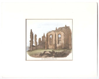Antique Hand Coloured Engraving Ruins of Savoy Palace