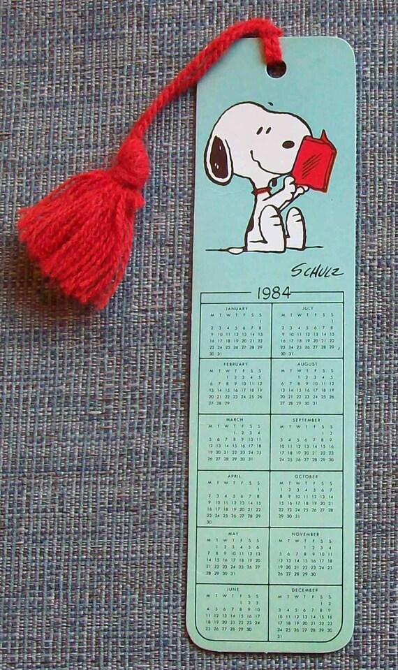 Snoopy Calendar Bookmark 1984 Etsy