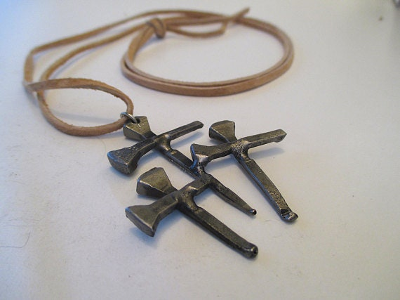horseshoe nail cross necklace