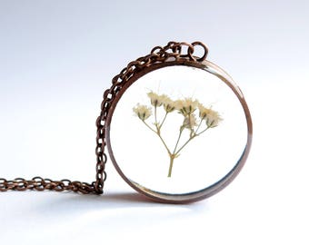 Baby's Breath Necklace / Pendant / Keyring - Upcyled Copper and Resin Jewellery