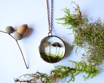 Mushroom necklace - real fungi pendant