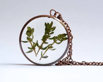 Thyme Pendant - Handmade Copper Resin Jewelry Real Plant Herb Necklace Or Keyring For Women Or Men, Symbolises Courage And Health Or Healing