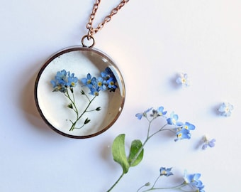 Forget-Me-Not Pendant - Real pressed flower copper necklace - remembrance, loyalty, love, dementia