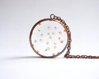 Gold Star Sprinkles Necklace - Handmade Copper Resin Pendant Jewelry - Gift Jewellery For Women