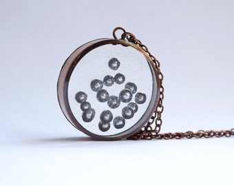 Silver Dragee Sprinkle Pendant / Necklace - Upcycled Copper and Resin Jewellery