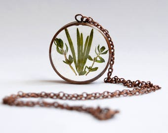 Rosemary & Thyme Necklace - Handmade Copper Resin Herb Plant Jewelry Pendant Necklace  - Remembrance And Courage Jewellery Gift For Women