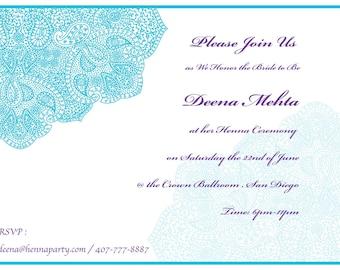 Sangeet invite etsy elegant hennamehendi party invitation card sangeet card bridal shower godh bharai indian party ethnic cards eid invite wedding india stopboris Image collections