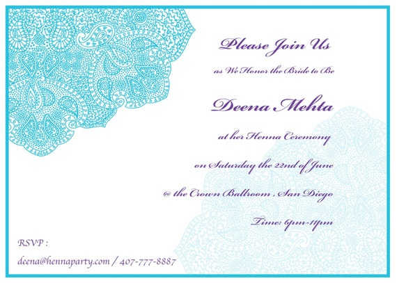 Elegant Henna Mehendi Party Invitation Card Sangeet Card Etsy