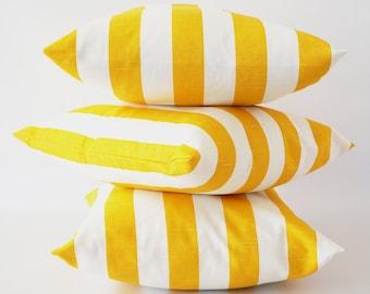 Yellow stripe 26x26 pillow cover, yellow white pillow, corn yellow pillow, striped slub pillow cover, cushion, decorative pillow