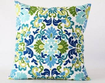 Blue 24x24 pillow, blue green damask pillow cover, damask pillow, pillow cover, green and blue pillow, decorative pillow, cushion
