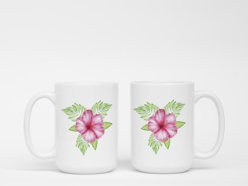 Set Of 15oz Mugs With Pink Hibiscus Tropical Flower And Hidden Etsy