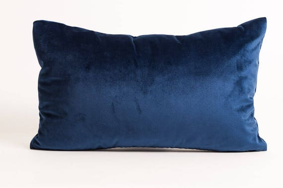 Blue Velvet Lumbar Pillow Cover Dark Blue Velvet Pillow Etsy Simple Joann Fabrics Pillow Covers