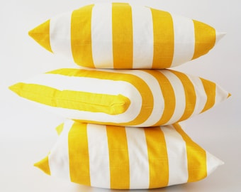 Yellow stripe 22x22 pillow cover, yellow white pillow, corn yellow pillow, striped slub pillow cover, throw pillows, cushion, decorative