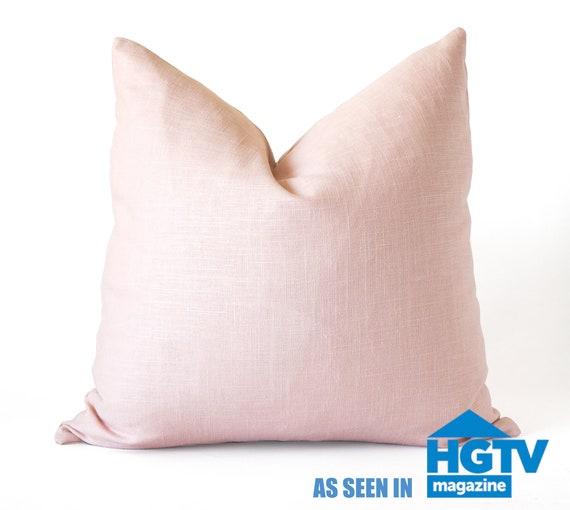 20x20 Blush Pink Linen Pillow Cover, blush pink throw pillow, pink linen  cover, linen decorative pillow cover, light pink linen pillow