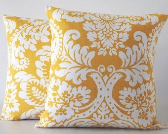 Yellow 24x24 decorative pillow, yellow pillow, sunflower yellow pillow, yellow damask pillow cover, pillow cover, throw pillows, cushion
