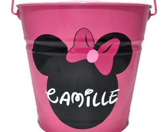 Minnie Mouse Bucket - Easter Bucket - Personalized Easter Bucket - Custom Personalized Metal Easter Bucket - Easter Pail - Disney Easter