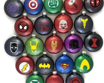 Super Hero Ornaments Super Hero Glitter Ornaments Avengers Ornaments Marvel Comics Ornaments DC Comics Ornaments Super Hero Gifts