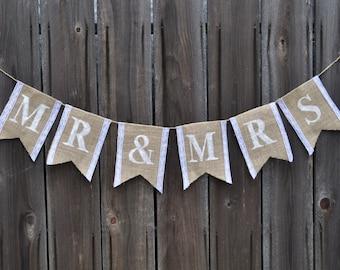 Mr & Mrs Burlap and Lace Banner - Bridal Shower Banner - Wedding Banner - Burlap Wedding Banner - Burlap Bridal Shower Banner
