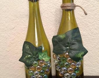 Wine Bottle Decor - Wine Bottle Art - Grape Wine Bottle Set - Wine Lover Gift - Gift for Wine Enthusiast