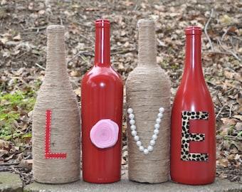 AIME les bouteilles de vin - bouteilles de vin - ficelle amour vin bouteilles - Vases de bouteille de vin de l'amour - décoration de bouteille de vin Upcycled amour Saint Valentin