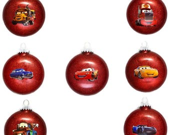 Disney Cars Ornament - Cars Christmas Ornament - Lightning McQueen Ornament - Tow Mater Ornament - Doc Hudson Ornament -  Disney Cars Gifts