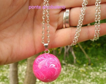 Angel caller/ chime/enamelled/ pink/ pregnancy/ baby/ mom/ legend/ guardian angel/ gift/mexican bola / sound/ pacifier