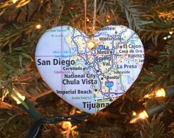 San Diego Map Ornament