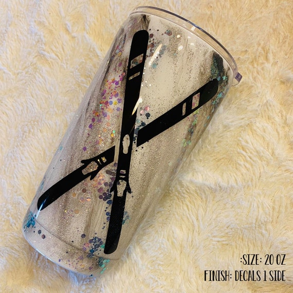 Crossed Ski Black and White Marble Glitter Epoxy Tumbler Free Shippinig